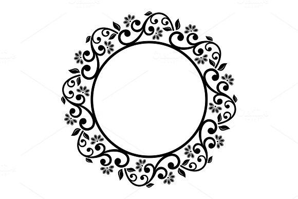 Floral Modern Vector Round Frame ~ Graphic Patterns ~ Creative Market
