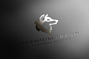 Premium Wolf Logo & Mock-Up - Vector