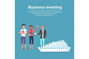Business Meeting and Ship Vector