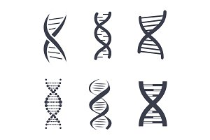 DNA Silhouettes Set Poster Vector