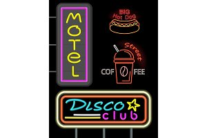 Motel and Disco Club Set Neon Vector
