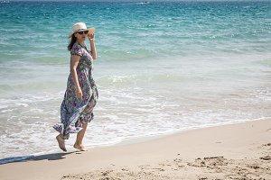 Attractive woman on seashore