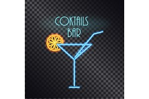 Coktails Bar Neon Poster Color