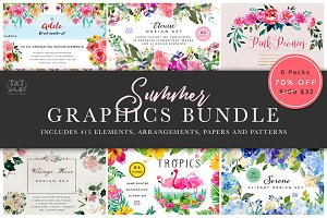 Summer Floral Graphics Bundle