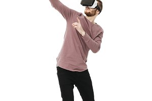 Young man standing in virtual