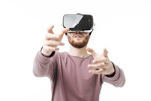 Portrait of young man using virtual