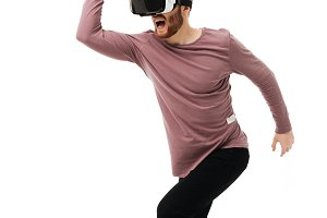 Happy young man with virtual reality