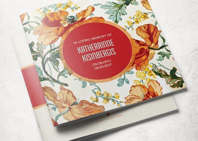 floral funeral program template brochure templates creative market
