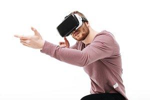 Portrait of cool boy in virtual