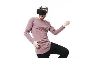 Portrait of emotional boy in virtual
