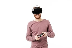 Young smiling man using virtual