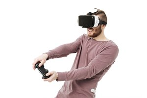 Young man using virtual reality
