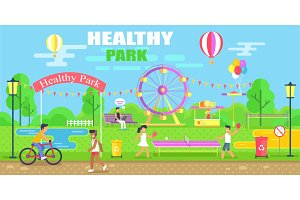 Healthy Park Happy Poster Vector
