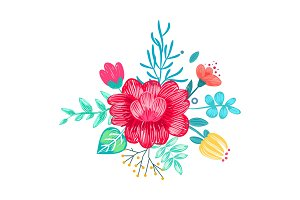 Closeup of Drawn Bouquet on Vector