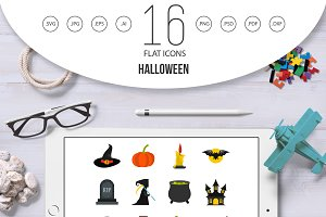 Halloween icons set, flat style