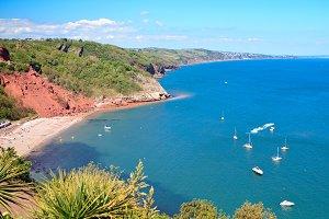 Babbacombe beach in Devon, England