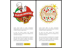 Pizza House and Pizzeria Set Vector