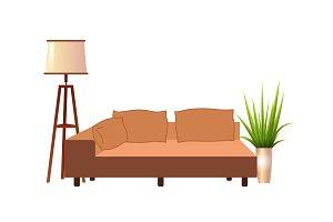 Realistic orange sofa with floor