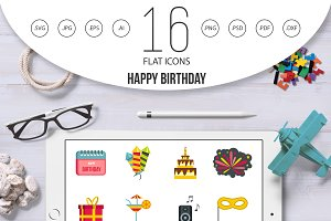 Happy Birthday icons set,flat style