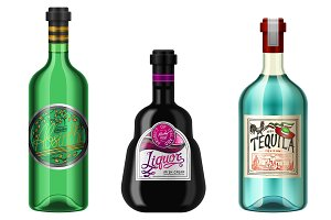 Realistic alcohol drinks in a bottle