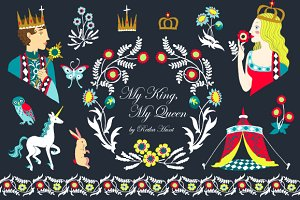 King & Queen Clip Art Set