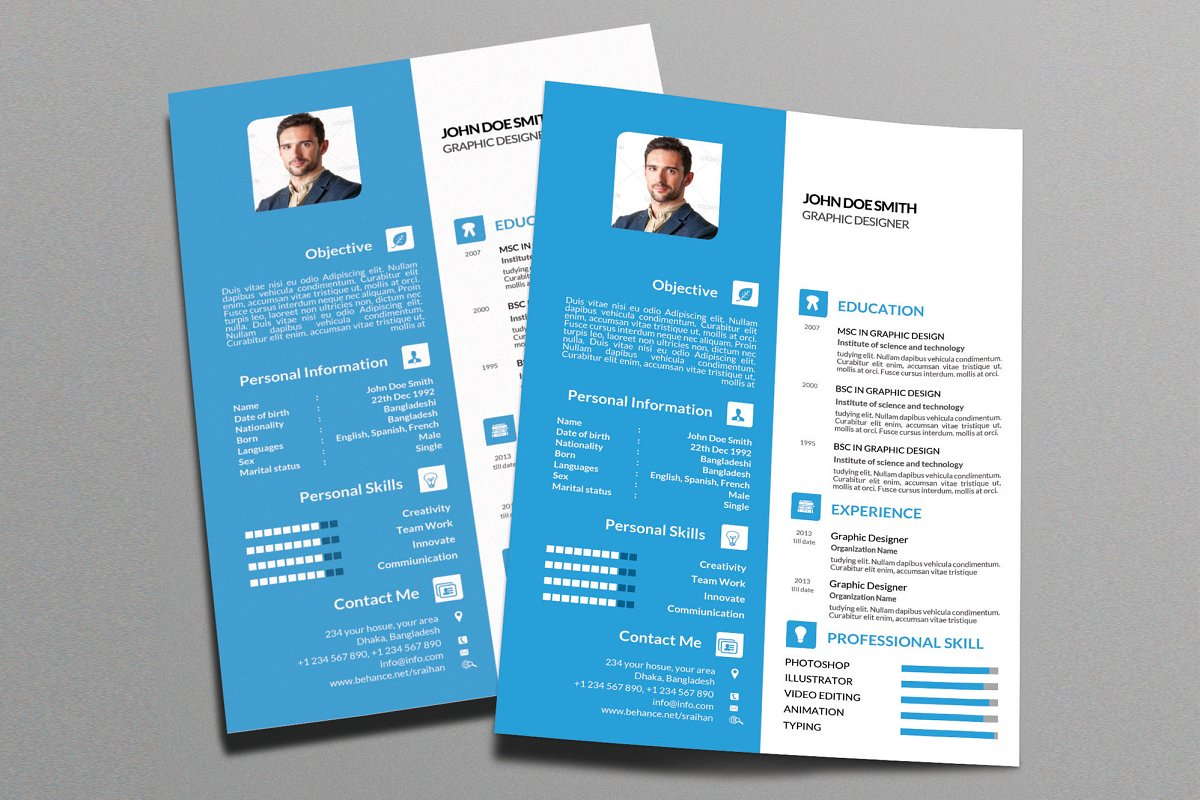 Colored Resume Template 2018 Vol 1 Resume Templates Creative Market