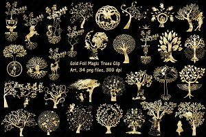 Gold Foil Magic Trees Clip Art
