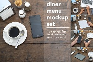 Diner menu mockup set