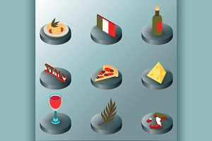 Italy color isometric icons
