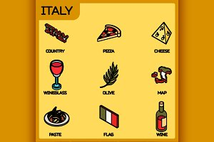 Italy color outline isometric icons