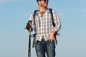Photo of tourist man in sunglasses