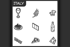 Italy outline isometric icons