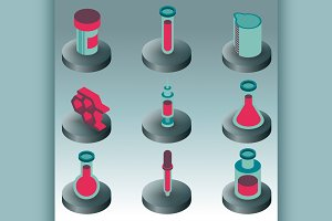 Laboratory color isometric icons