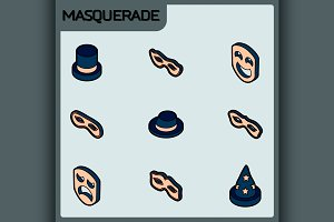 Masquerade color isometric icons