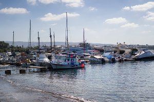 Boats moored at a harbor, Paphos, Cy