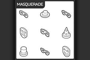Masquerade concept isometric icons