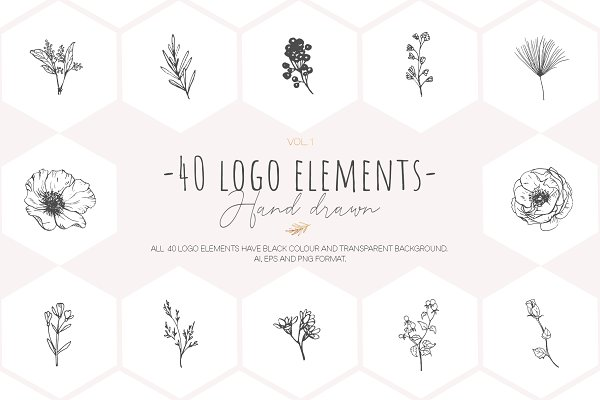 Illustrations and Illustration Products: Pamyatka Shop - Hand drawn floral logo elements