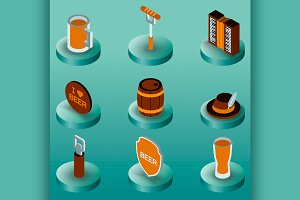 Octoberfest color isometric icons