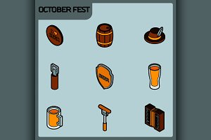 Octoberfest color outline isometric