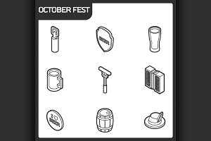 Octoberfest outline isometric icons