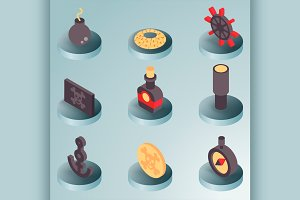 Piracy color isometric icons