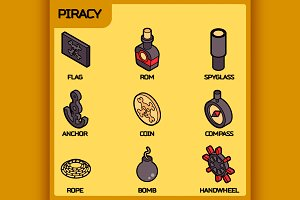 Piracy color outline isometric icons