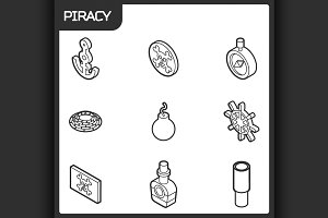 Piracy outline isometric icons