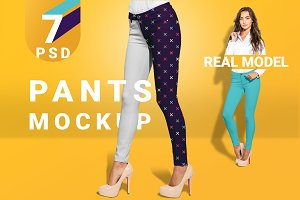 Women's pants mockup set