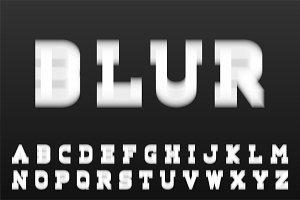 White latin letters - blur font