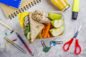 Lunch box and school supplies