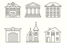 House building icons set