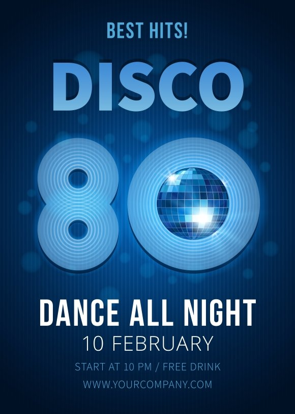 disco party best hits of the 80s brochure templates