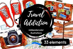 Travel Addiction watercolor sketches