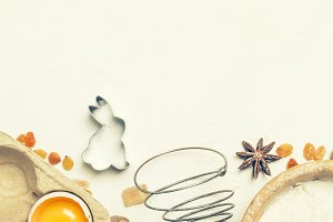 Easter baking ingredients, white foo